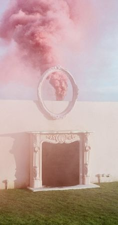 Pink smoke through the frame