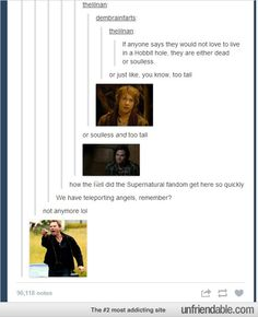 """""""How did the Supernatural fandom get here so quickly?""""  """"We have teleporting angels, remember?""""  """"Not anymore..."""" I'm dying."""