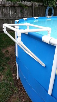 Nice PVC Tray Holder For Intex Metal Frame Pool (I Should Patent This!)