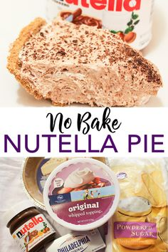 Serve up this no-bake Nutella pie recipe any night of the week! A delectable pie that you can make in minutes! Nutella Recipes, Pudding Recipes, Pie Recipes, Baking Recipes, Dessert Recipes, Torte Nutella, Nutella Cheesecake, No Bake Desserts, Easy Desserts