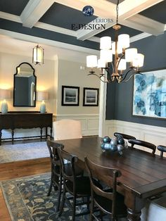 Dining Room 789537378398490387 - Sherwin Williams Wall Street and Wool Skein, coffered ceiling, moldings dining room,entryway. Kylie M INteriors E-design, online paint colour consulting. Client photo Source by va_lerne Dining Room Paint Colors, Dining Room Blue, Luxury Dining Room, Dining Room Walls, Dining Room Design, Dining Room Furniture, Paint Colours, Colorful Dining Rooms, Dining Room Wainscoting
