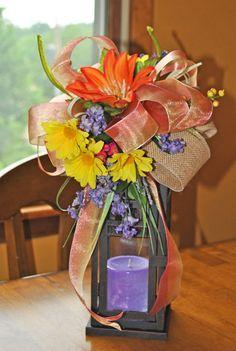 Colorful Lantern Swag Floral Arrangement in Orange, Purple, Yellow & Fuschia by Trendy Wreath Boutique on sale now https://www.etsy.com/listing/153861785/floral-arrangement-decor-lantern-swag