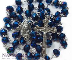 Deep Blue Crystal Beads Rosary Catholic Necklace Holy Soil Medal & Crucifix Nazareth Market Store http://www.amazon.com/dp/B00SP1E764/ref=cm_sw_r_pi_dp_xRrWwb0MTAXG2