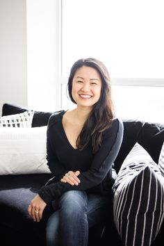 Interior designer Natalie Chong seated on a sofa Living Room Modern, Living Room Designs, Living Rooms, Blue Vanity, Ikea Mirror, Small Condo, Nest Design, Condo Decorating, Hgtv