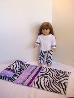 Cozy Doll Zebra Print Fleece Sleeping Bag, Pillow, and Matching Pajamas. Doll Bedding, Doll Beds, Matching Pajamas, Bitty Baby, Fleece Pants, Future Children, 18 Inch Doll, Sleeping Bag, Doll Accessories
