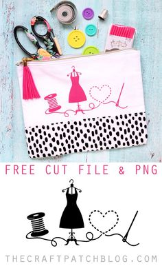Customize a t-shirt, tote bag or zip pouch with this adorable sewing themed design and iron-on vinyl. Such a cute Silhouette project! #silhouettecameo #silhouette #sewing #cutfile #freecutfile #freeprintable #cricut