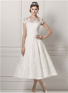 Scoop Neck Stunning Knee-Length Satin Lace Wedding Dress Bendigo