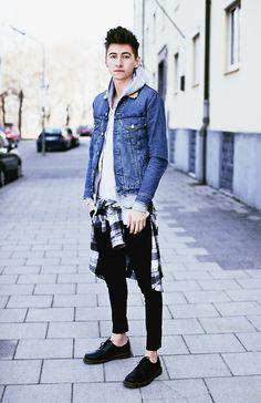 Levi's Levis Denim Jacket, Cheap Monday Shirt, H&M Jeans, Dr. Martens Doc Martens Shoes, Patrick Mohr T Shirt