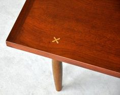 Mid-Century Danish Modern Walnut Coffee Cocktail Table Bench by American of Martinsville Atomic Age Vintage Retro 1960s Brass X Inlay