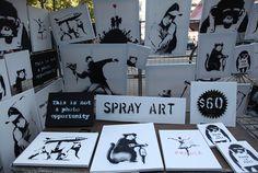 Acervo de obras de  Banksy feitas com spray.