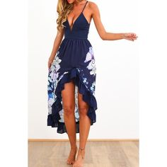 Alluring Spaghetti Strap Sleeveless Floral Print Dress