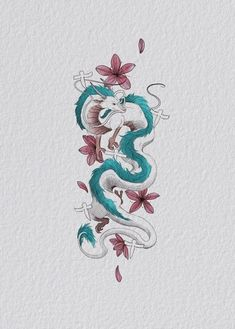 So excited for this little 🤩 in love with 🙏 × × Cute Tattoos, Body Art Tattoos, Tatoos, Spirited Away Tattoo, Spirited Away Dragon, Tattoo Drawings, Art Drawings, Tattoo Art, Chihiro Y Haku