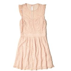 Hollister Ruffle Lace Dress ($30) ❤ liked on Polyvore featuring dresses, pink lace, lace cocktail dress, frill dress, lace ruffle dress, flounce dress and pink lace dress