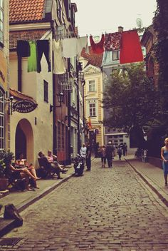 Riga, little street in the heart of Old Town.