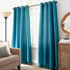 Keep it simple for a look of luxury. Our woven curtain gives a posh finishing touch to any room. The faux silk fabric has a subtle sheen, and the lining assures you of extra privacy. The grommet top creates a more contemporary feel from top to bottom. Teal Curtains, Outdoor Curtains, Window Curtains, Custom Drapes, House Windows, Curtain Rods, Hamilton, Velvet, Ink