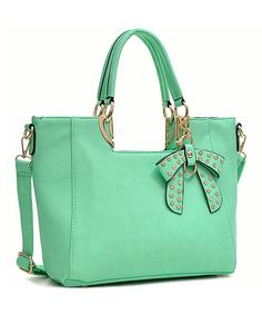 Mint Bow Structured Satchel