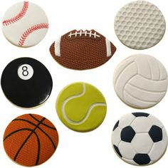 This wonderful sports ball cookie cutter set with matching impression mats has just landed, from the iuncredible range by Autumn carpenter. Basketball Cookies, Volleyball Cookies, Football Cookie Cutter, Football Cookies, Cookie Cutter Set, Basketball Party, Iced Cookies, Cute Cookies, Royal Icing Cookies
