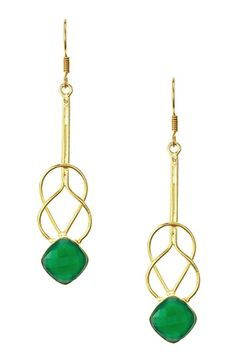 18K Gold Clad Green Onyx Layered Square Earrings by Saachi on @HauteLook