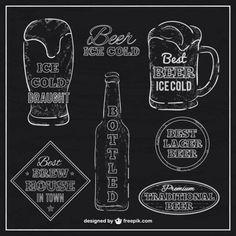 Rótulos de cerveja com textura negro Vetor grátis                                                                                                                                                     Mais