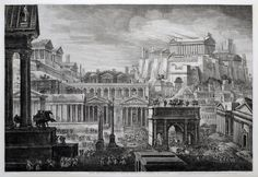 Roman Forum and the Temple of Capitoline Jupiter, Luigi Rossini, 1829, etching print, Rome Museum.