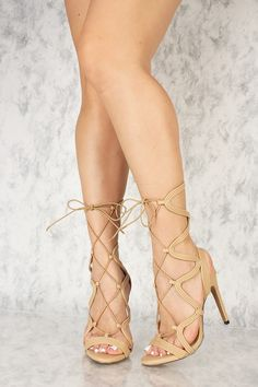 d96e9f4d04ceb Sexy Nude Strappy Cut Out Lace Up Peeped Toe Single Sole High Heels Faux  Leather Boots