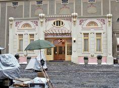The Grand Budapest Hotel exterior film set. More images here: http://www.dazeddigital.com/the-grand-budapest-hotel-day
