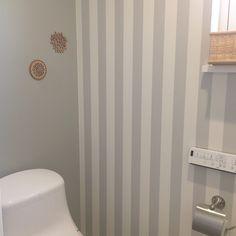 Bathroom/アクセントクロス/北欧/グレー大好き/アクセントクロス ストライプ/アクセントクロス グレー...などのインテリア実例 - 2018-01-11 08:27:22   RoomClip (ルームクリップ)