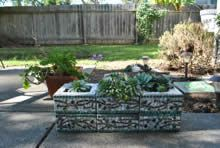 Carol Lancour adorned this cinder block planter with stained glass, marble gems, a little paint and some grout. If you are interested in learning how she does it, and you live near or Marin County, CA, she does give classes. Just head on over to her website.