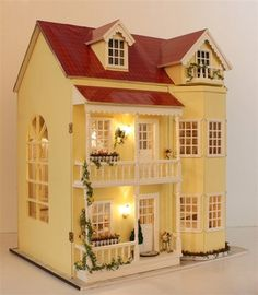 Fairy Tale Housetead III DIY Wooden Dollhouse Lighting Three Storeyed House Gift | eBay