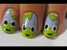 Happy Frog Nail Art Tutorial Source by TheSparkleQueen Animal Nail Designs, Animal Nail Art, Cute Nail Designs, Love Nails, Fun Nails, Pretty Nails, Fingernails Painted, Nails For Kids, Happy Nails