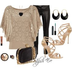 """Beige & Black Night Out"" by stylisheve on Polyvore"