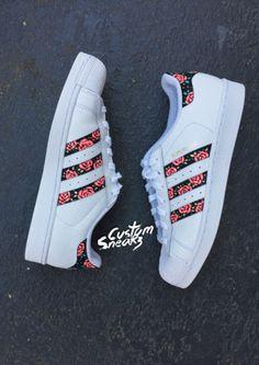 Custom Adidas Superstar for men and women, Adidas custom Hand Painted floral design, Unisex sizes, Adidas superstar, Original