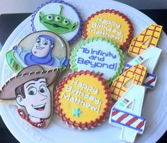 Toy Story theme Decorated Cookies, with Buzz Lightyear and Woody. Great favors! by peapodscookies