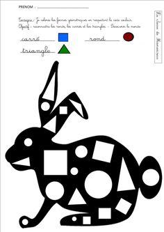 lapin reconnaissance formes géométriques Bricolage Halloween, French Class, Alphabet Worksheets, Activity Games, Kids House, Preschool Activities, Montessori, Coloring Pages, 1