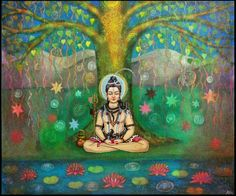 Lord shiva as adiyogi  in creative art painting