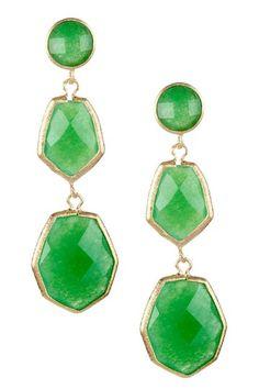 18K Gold Clad Triple Dangle Deco Design Faceted Green Quartzite Earrings