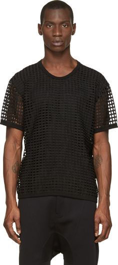 Denis Gagnon Black Layered Mesh T-Shirt