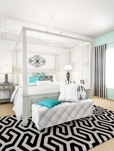 Combine classic pieces and contrasting colors to create a bold bedroom look. The tall canopy bed sets the stage for plush white bedding with a pop of teal. Add eye-catching interest to the space by mixing stripes, geometric patterns and scrolling metal de White Bedroom Decor, White Bedroom Furniture, Farmhouse Bedroom Decor, Bedroom Sets, Home Decor Bedroom, Luxury Furniture, Bedrooms, Dream Bedroom, Teal Bedding Sets