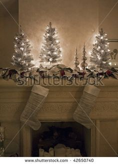 Fireplace Mantle Decorated For Christmas Stock Photo 42650740 ...