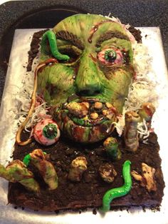 Zombie Cake  change skull cake with greenish and more yucky