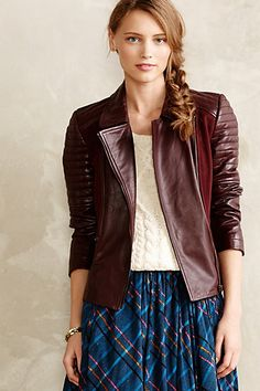 Burgundy Leather Bomber for fall