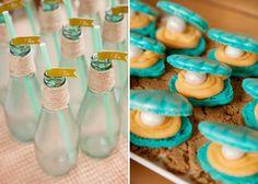 Preciosos macarons con forma de ostras para una fiesta mar / Lovely oyster-shaped macaroons for a sea party