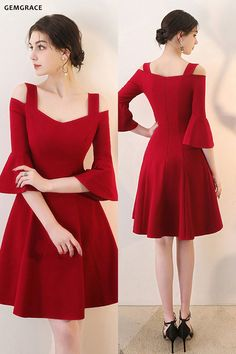 38c8b29dbf1 Burgundy Aline Short Red Homecoming Dress with Bell Sleeves  HTX86042 -  GemGrace.com