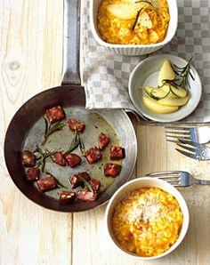 Kürbisrisotto mit Birnen und Blutwurst - Variationen für feines Risotto - [LIVING AT HOME]