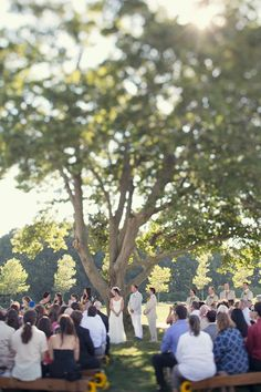 Outdoor ceremony under a maple tree at rustic farm venue on Long Island, 8/10/13. This photo is courtesy of Alexis Stein Photography. http://alexissteinphoto.com/