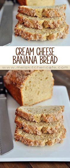Cream Cheese Banana Bread with Sweet Cinnamon Topping This moist and light cream cheese banana bread recipe with a sweet cinnamon topping is the best banana bread on the planet. Köstliche Desserts, Delicious Desserts, Dessert Recipes, Health Desserts, Best Banana Bread, Banana Bread Recipes, Recipes With Bananas, Banana Bread With Cinnamon, Banana Bread Cake