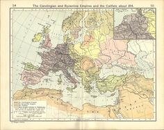 Map of the Byzantine and Carolingian Empires and the Caliph, 814