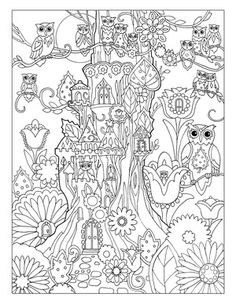 Creative Haven Owls Colouring Book by Marjorie Sarnat ~  Treehouse