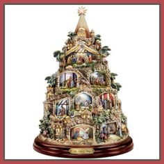 The Nativity Tree Tabletop Centerpiece Presented And Narrated By Thomas Kinkade by The Bradford Exchange Christmas Tree Light Up, Tabletop Christmas Tree, Ceramic Christmas Trees, Christmas Nativity, Christmas Tree Decorations, Christmas Crafts, Winter Decorations, Christmas Scenes, Rustic Christmas