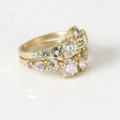 Custom engagement ring with matching cluster wedding band www.melaniecasey.com
